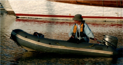 Stew harbor master in Rubber boat-a